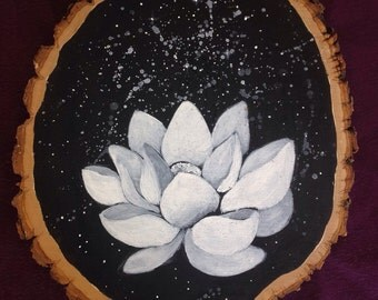 Nocturne ~ Wood Slice Painting