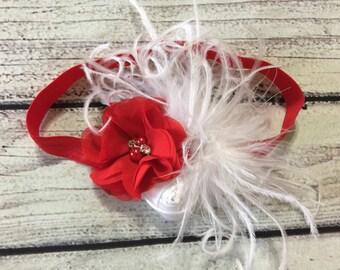 Christmas Baby Headband Red and White Headband Christmas headbands Newborn Headband Baby Headband Flower Headband