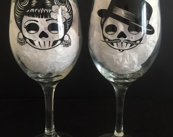 Day of the Dead, Couple, Wine Glasses