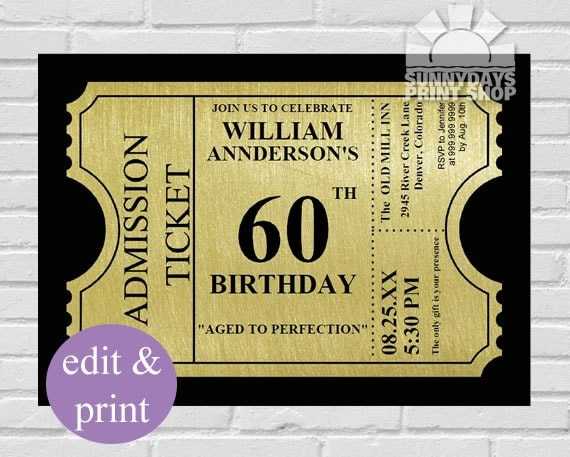 gold ticket 60th birthday invitation60th by spicedappleparties