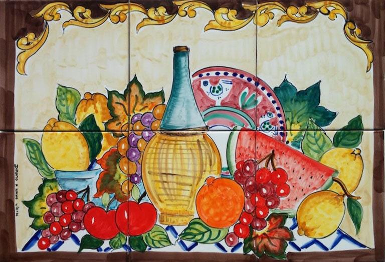 Dipinti a mano piastrelle di ceramica italiane vita barocco - Piastrelle disegnate ...