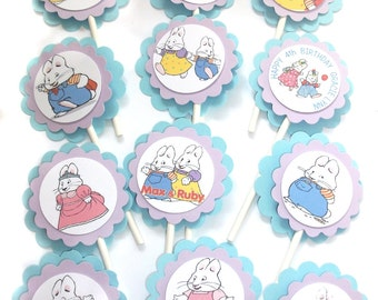 Max and Ruby Cupcake Toppers - 1 Dozen