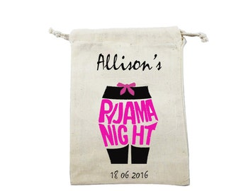 Personalized  bag adult teen Pajama party - Favor Bag - pyjama party  bag - Teen pyjama party - Bridesmaid pajama bag - Pyjama favor