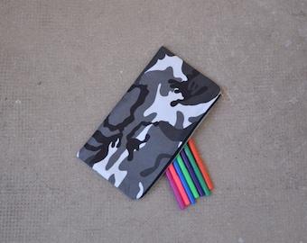 Pencil Case Boys School Camouflage Black Grey White 100% Cotton Army Military Trousse Garçon Ecolier Noir Gris Blanc
