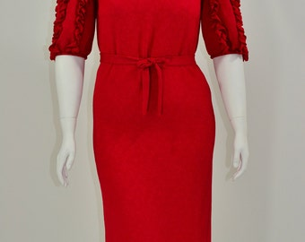 1980's Vintage Women's 10 Umba For Parnes Feinstein Red Ruffled Sleeve Evening Dress Christmas Holiday