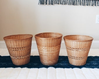 Wicker Baskets, Tall Wicker Baskets, Set of 3 Wicker Baskets, Wicker Basket Storage, Wicker Waste Basket, Wicker Planters