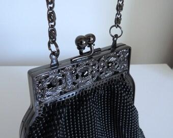 Vintage Black Whiting And Davis Beaded Handbag