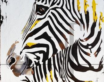 zebra horse contemporary art painting oil modern fine art