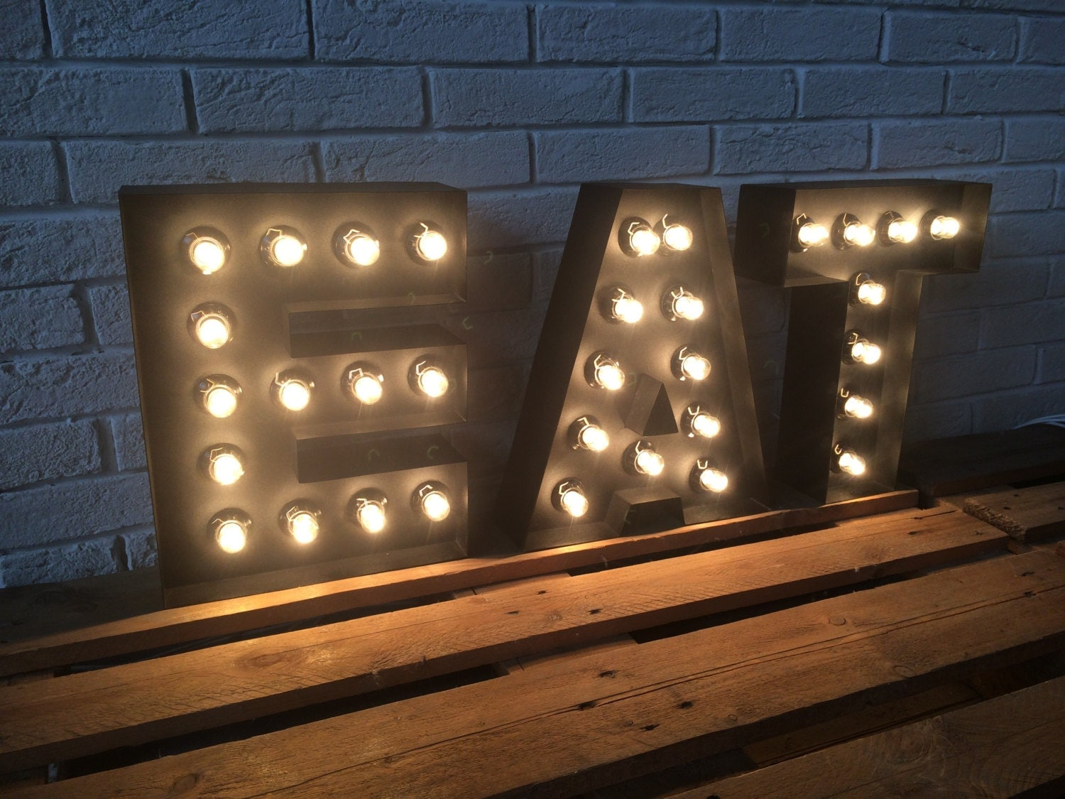 Letters of metal large eat sign light up kitchen or restaurant for Kitchen letters decoration