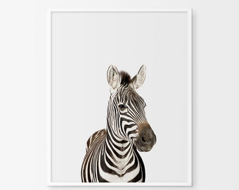 Zebra Print, Nursery Animal Wall Art, Black and White Nursery Decor, Safari African Animal Print, Printable Poster, Nursery Zebra Print