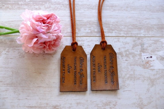 Personalized Luggage Tags Wedding Gift: Custom Bride And Groom Luggage Tag Personalized Leather Tags