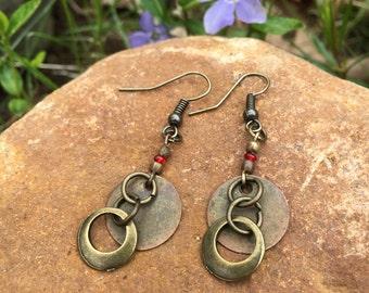 Boho copper earrings