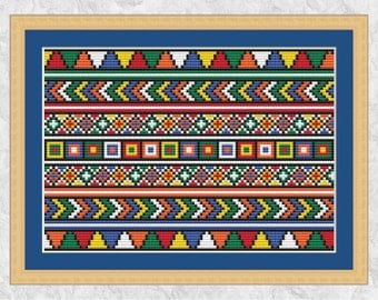 African cross stitch pattern, beadwork effect, cross stitch border, tribal, abstract, geometric, modern, printable, PDF - instant download