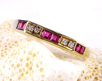 14K Gold Vintage Ruby Ring, Gift For Mom, Square Diamond Ring, Vintage Wedding Ring, Unique Wedding Band, Stacked Wedding Band, Size 6.5