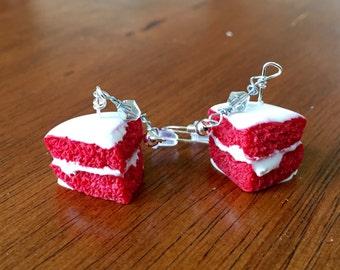 Cute miniature polymer clay red velvet cake earrings!