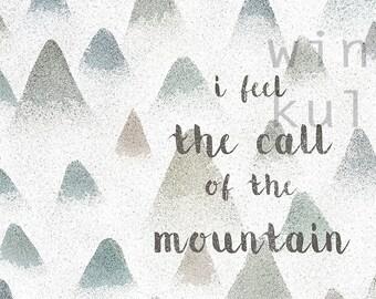 Printable Artwork, Digital Print, Download illustration, mountain, mountain, illustration to download, the call, wild