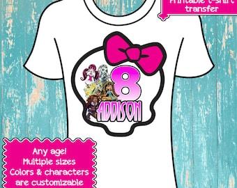 Monster High Birthday Shirt - Iron On Transfer - Digital File