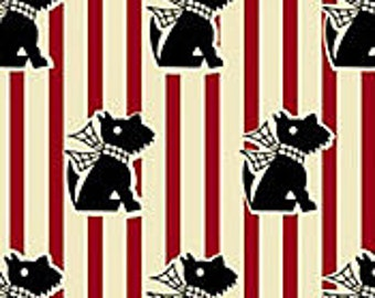 SCOTTISH TERRIER FABRIC-Scotties with Bows-Fabric