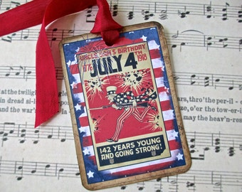 4th of July Tags Uncle Sam - Set of 6