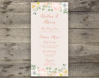 Printable Hand-Painted Watercolor Floral Wedding Menu Rose Peony Rustic Modern Calligraphy Wedding Menu