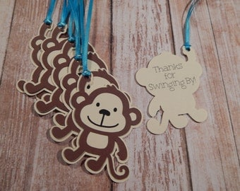 Monkey Favor Tags, Monkey Party, Monkey Baby Shower, Jungle Party