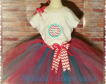 Chevron birthday tutu set. Available 12mo. To 4T