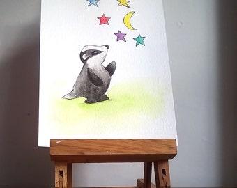 Quirky Badger Original Painting, Badger Nursery Wall Art,  Original Watercolour Painting, Whimsical Badger, Cute Badger, Woodland Creature,