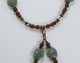 Green & Brown Necklace, Czech Glass and Smokey Quartz Necklace