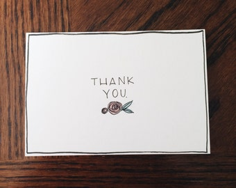 Handmade Thank You Card with Tiny Rose and Leaf Detail