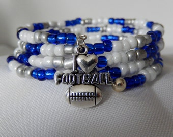 Blue, White & Silver glass bead bracelet