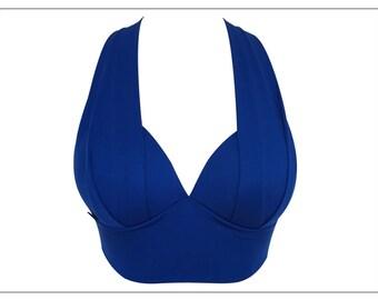 Sports Bra Yoga Top Workout Brazilian Activewear Royal Blue