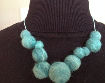 Jade wool blend felted necklace