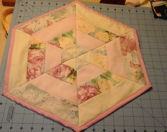 Hexagon Table topper, Peonies and Butterflies