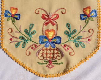 Embroidered table runner.