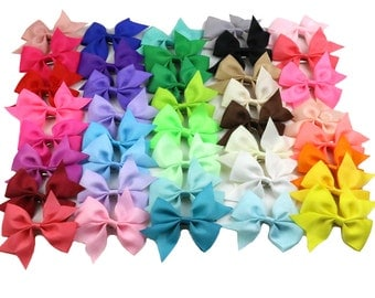 """magic show Lots of 40 Colors 3"""" Boutique Hair Bows Baby Toddler Girls Kids Alligator Clip Grosgrain Ribbon Headb TO399"""