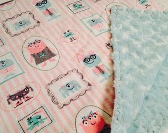 Glow in the Dark Girls Monster Baby Blanket