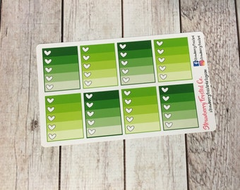 Greens Monthly Ombre Checklist Planner Stickers -Vertical Planners/