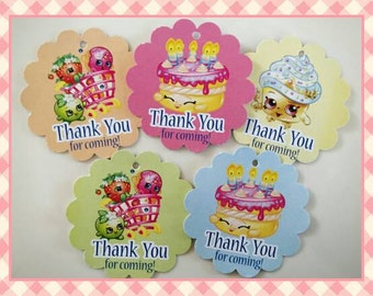 12 Shopkins Thank you Tags Birthday Party Favor Tags