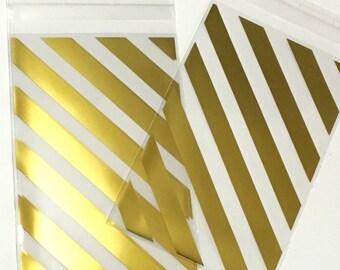 Gold Stripe Celllo Bags