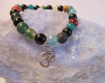 8mm  Multi Stone Natural Gemstone Healing OM Stretch Bracelet