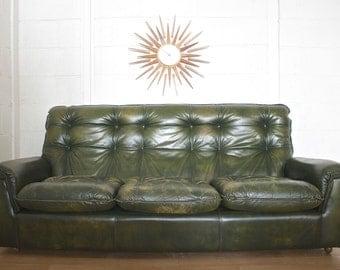 Retro Mid Century Danish Style 3 Seater Green Leather Sofa