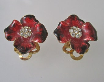 Red Flower Earrings Clip On Signed Attwood and Sawyer Enamel Rhinestone Crystal Vintage Clip Ons UK