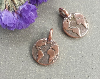 Earth Charm - Antique Copper >> 4 or 10 pieces >> 16x12mm, Tierra Cast, Pewter, World, Drop, Lead-Free, American Made, Textured