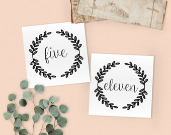 Floral Wreath Wedding Table Numbers in 1-20 size 4 x 4 - Floral Theme - Instant Printable Download