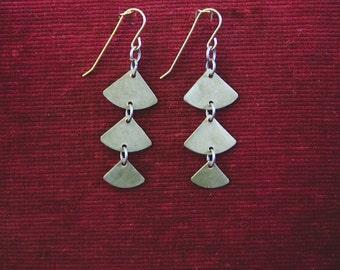 Brass cascade earrings