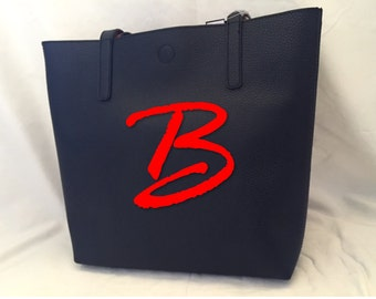 Personalized Tote bag | Womens Over night Bag | Over Sized Bag | Large Carrying Purse | Two Toned | Reversable
