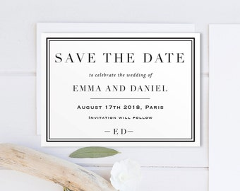 Printable Save The Date, Classic wedding/ Calligraphy Personalised DIY/Elegant and Classy/Invite Printable PDF