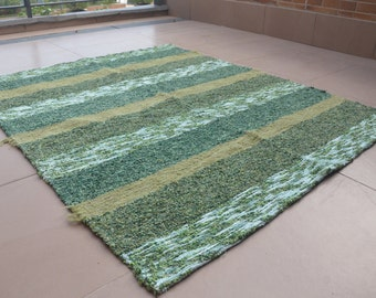 Green coloured jarapa (rug) from Alpujarras, Spain #20