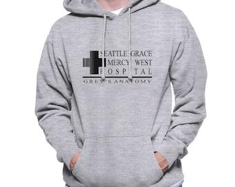 Seattle Grace Mercy Hospital Black print on Light Steel or White Unisex Hoodie