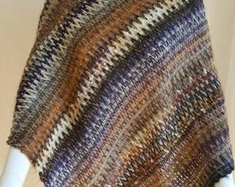 Boho wool knitted poncho